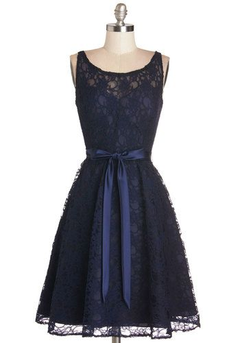 Simply Divine Dress in Navy - Wedding, Bridesmaid, Blue, Solid, Lace, Belted, Special Occasion, A-line, Sleeveless, Woven, Better, Scoop, Mi...