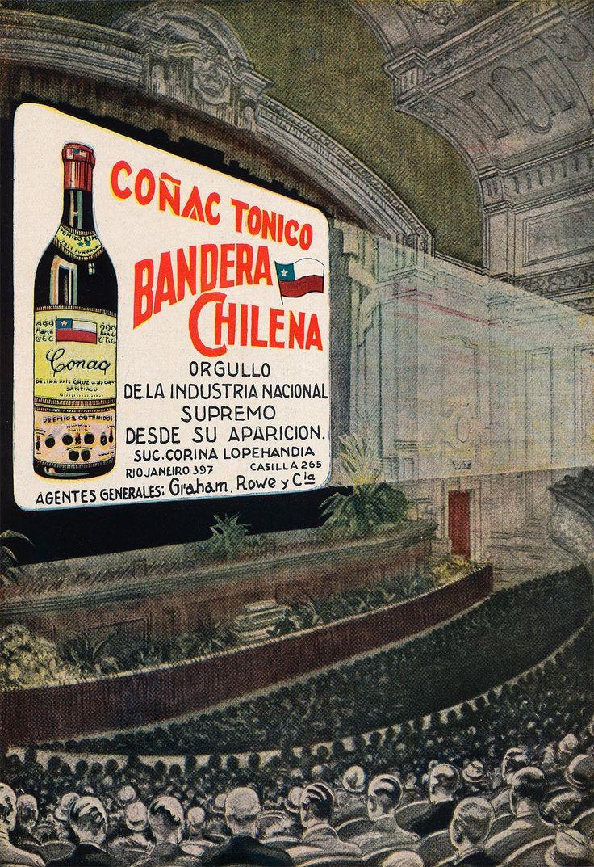 Aviso Cognac Bandera Chilena  Año: 1928  Autor: Sociedad Imprenta y Litografía…