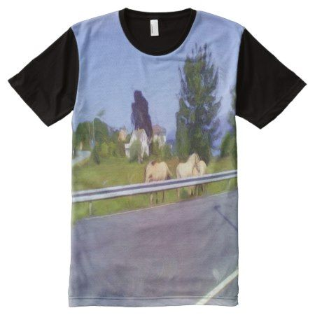 Horses on some grass next to the road All-Over-Print T-Shirt - tap to personalize and get yours