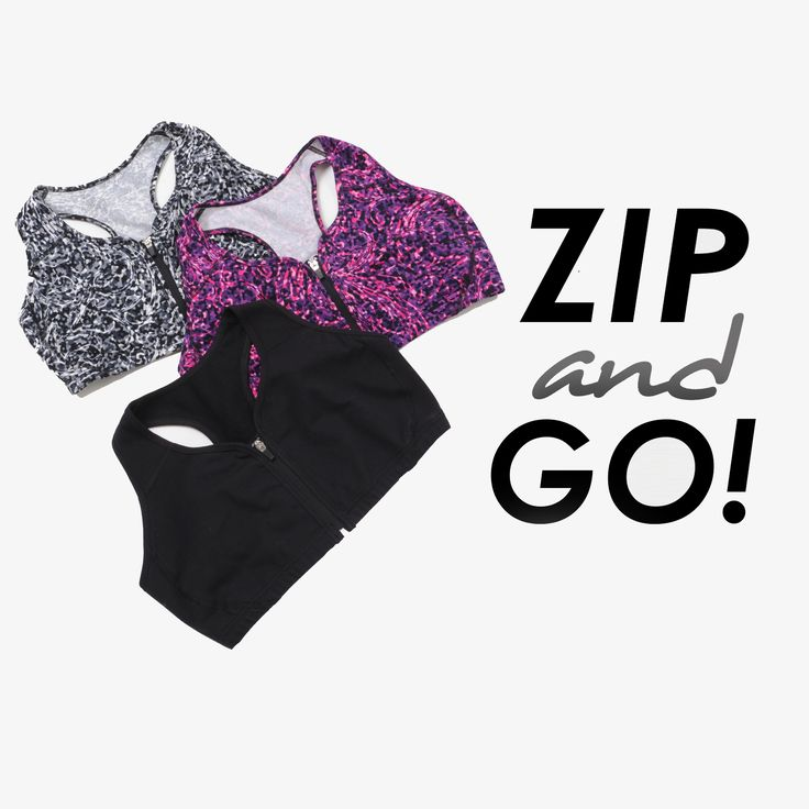 Front zip sports bras available only at Rainbeau Curves. Plus size activewear in solid and fashion prints.