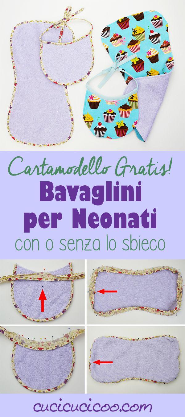 Basta con i vestiti sporchi dopo il ruttino! Impara come cucire un bavaglino per neonato e un panno salvaspalla con questo cartamodello gratis! Ottima idea regalo veloce per una neomamma! www.cucicucicoo.com