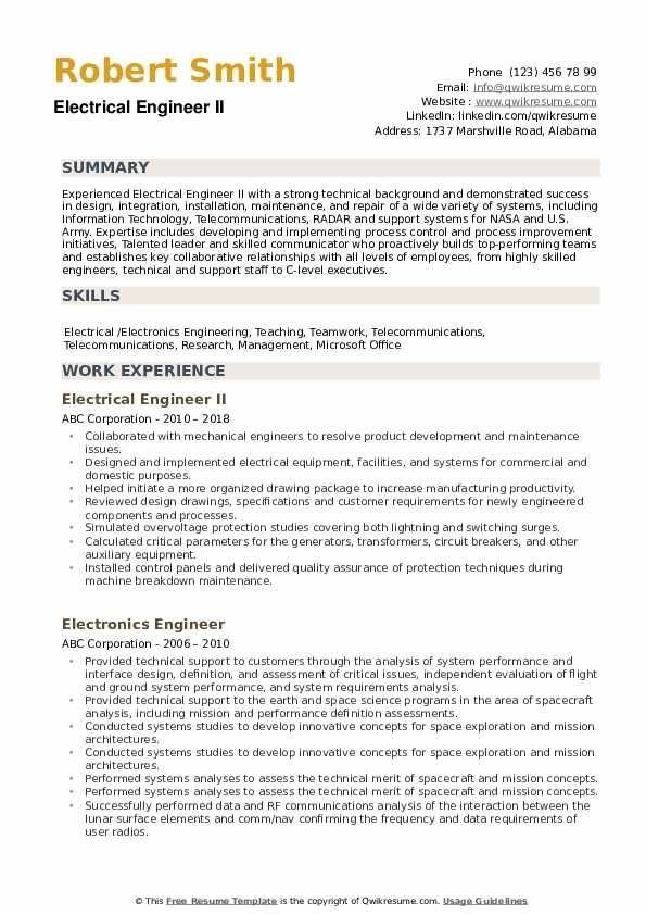 Electrical Engineer Resume Samples Qwikresume Engineering Resume Engineering Resume Templates Cv Template Word