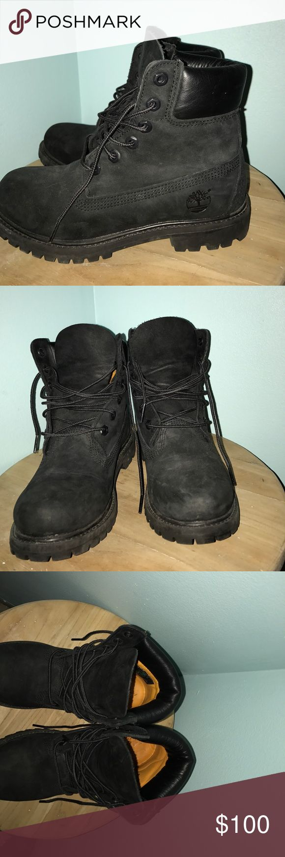 Timberland black Women size 6 Worn maybe once or twice. Did not fit my feet. They have a waterproof cover over them. Super cute! Price can be negotiated :) Timberland Shoes Combat & Moto Boots