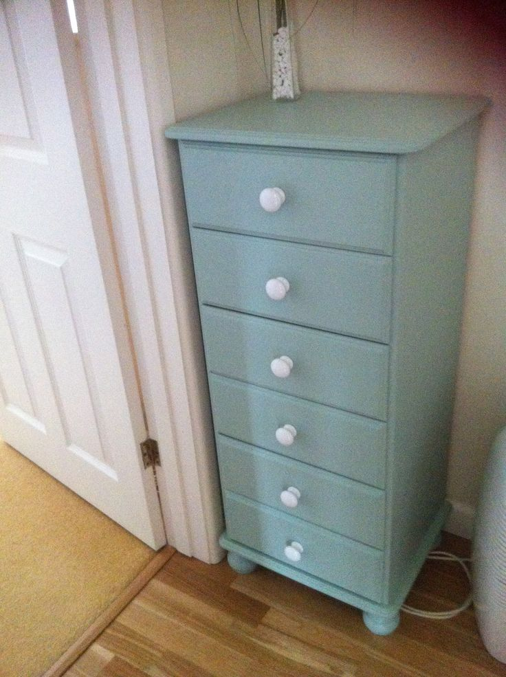 Pine Chest Of Drawers Painted With Farrell And Ball Green Blue Paint