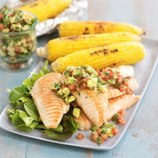 Barbecued chicken with avocado and tomato salsa