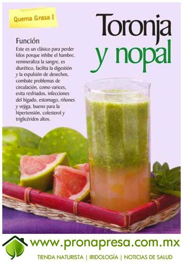 Jugo verde de nopal y toronja. Un quemagrasas natural. #jugosverdes #infografias #salud