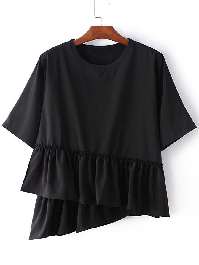 Buy Black Round Neck Ruffle Hem Short Sleeve Blouse from abaday.com, FREE shipping Worldwide - Fashion Clothing, Latest Street Fashion At Abaday.com