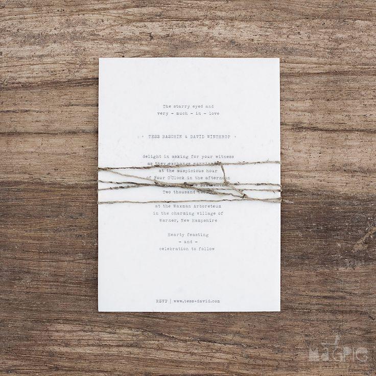 white letterpress invite & twine.