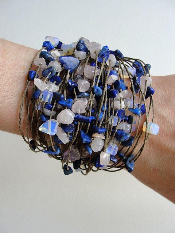 Lapis Lazuli. Rose Quartz linen   BRACELET by PaintingJewelry, $13.00