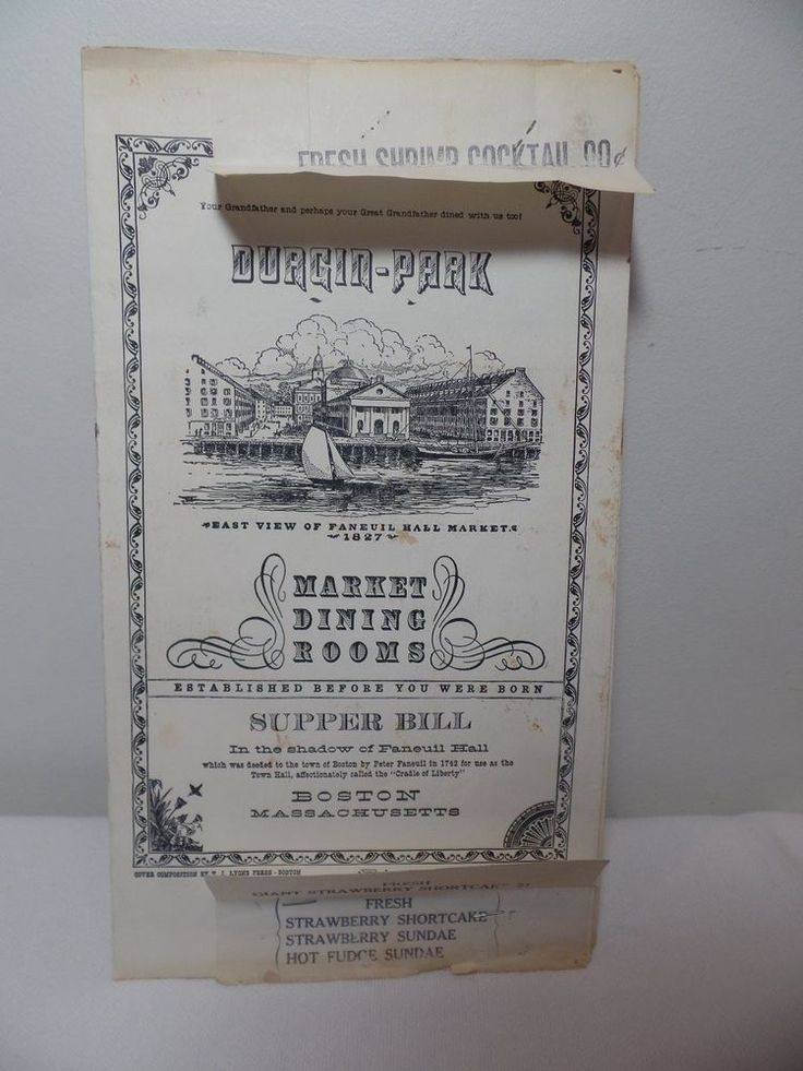 Vintage Durgin Park Resturant Menu Boston Massachusetts