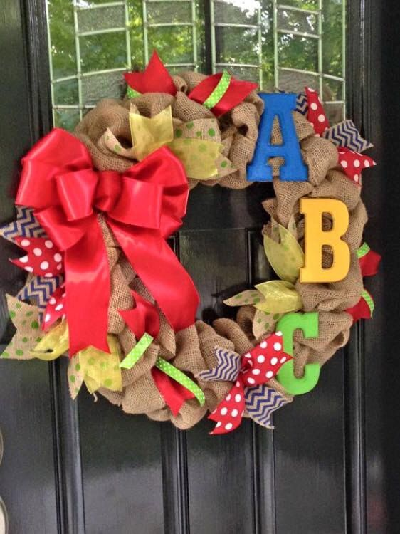 24 Teacher's Wreath with Letters by SavannahGAWreaths on Etsy