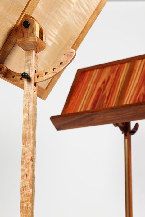 Contemporary wood music stand with brass and ebony accents