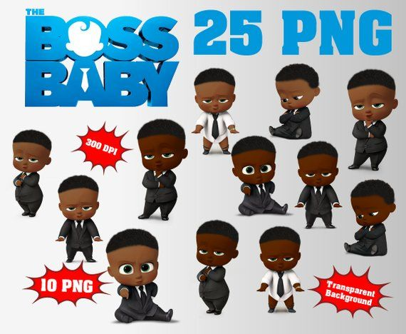 African The Boss Baby Clipart Logo Included 45 Png 300 Dpi Etsy In 2020 Boss Baby Baby Afro Baby Girl Clipart