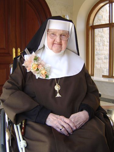 """She isn't afraid to speak forthrightly, and she sent the Gospel around the world with EWTN radio & tv.  """"This past January 3, 2012 Reverend Mother Mary Angelica celebrated her sixty-fifth anniversary of her First Holy Profession of Vows."""""""