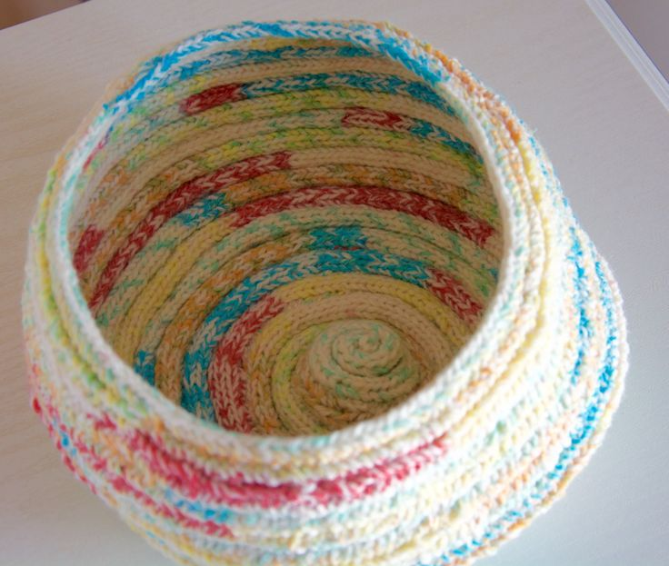 knitted bowl,knitted multicoloured bowl,coiled knitting,storage basket,multicoloured bowl,yarn bowl by rosiejaqhandmade on Etsy