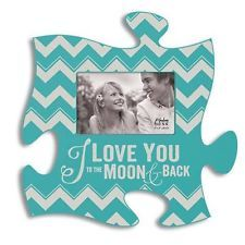 P Graham Dunn Puzzle Piece I LOVE YOU TO THE MOON AND BACK Teal Picture Frame
