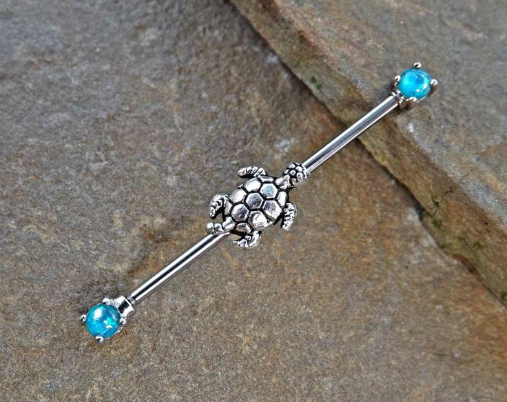 Turtle Industrial Teal Fire Opal Barbell Scaffold Piercing 14ga Body Jewelry Piercing Jewelry