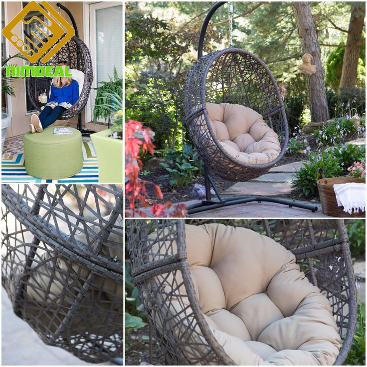 HANGING EGG CHAIR Swinging Wicker Seat Basket Swivel with