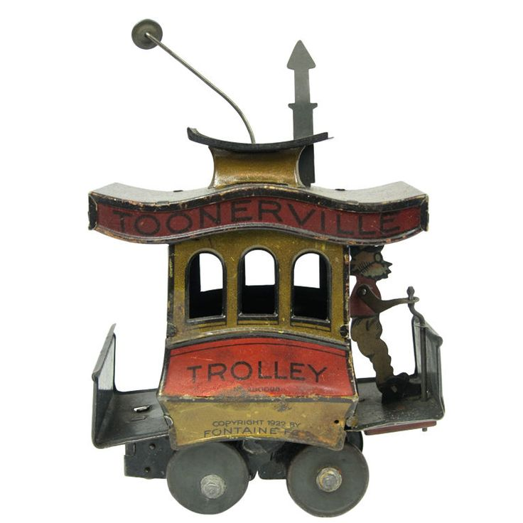 1922 Tin Toonerville Trolley Windup Toy Made In Germany