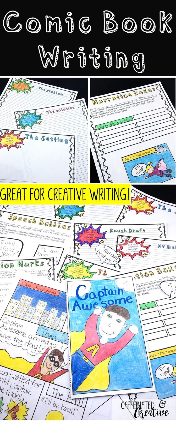 Comic Book Writing is a fun and creative way to teach your students the writing process! Kids love comics and this product will allow them to show their writing skills in a fun way. This is a great addition to a superhero unit! They will begin with brainstorming and then go on to writing drafts for the comic book.