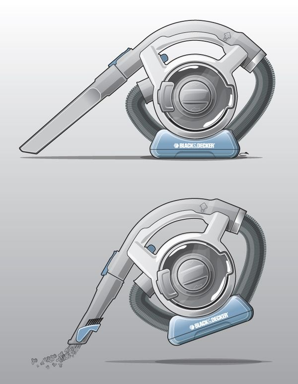 Dustbuster Flexi - Portable vacuum cleaner industrial design product rendering by Graeme Crawley, via Behance