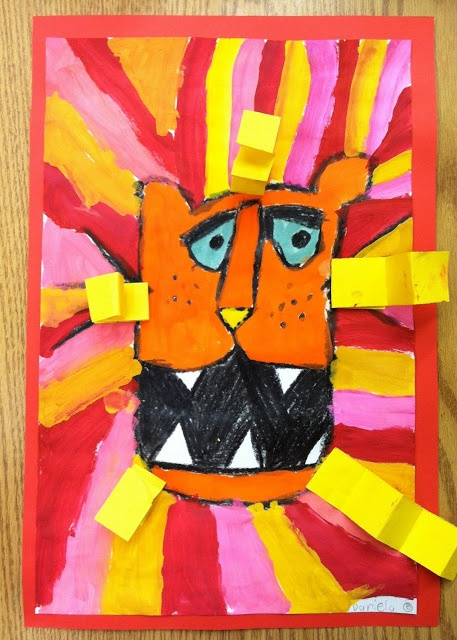 bold, warm painted lions with folded paper texture (kindergarten)