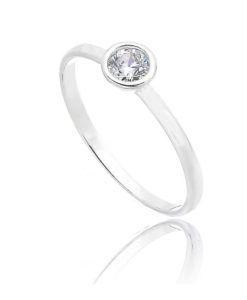 anel delicado joia prata 950 cravejado zirconia redonda