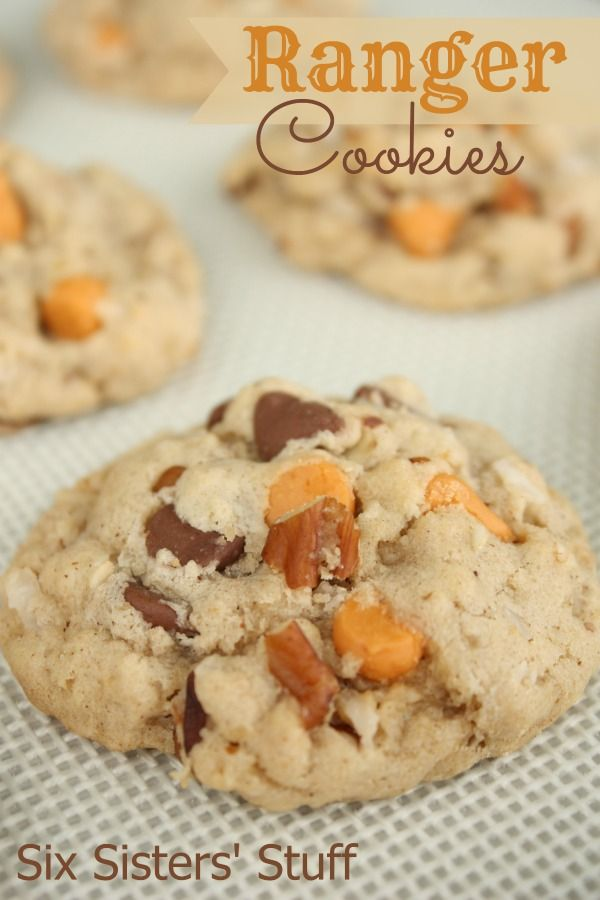 Ranger Cookies Recipe: adding the whole kitchen sink: chocolate chips, butterscotch chips, coconut & pecans.
