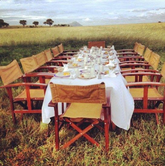 A bush breakfast in Kenya after an early morning safari. #travel #Africa #Kenya