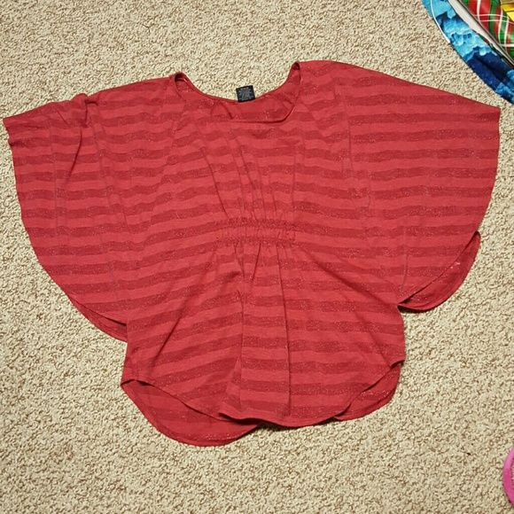Batwing top Reposh. Cute red striped batwing top. Has elastic piece in the front. Faded Glory Tops
