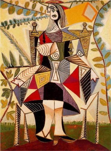 """""""Seated Woman in Garden"""" - Picasso A woman is one of many masks; vulnerable, weak, tough and strong she sits alone. No man alive knows her struggle to contain her turmoil. Seated in the garden at her throne."""