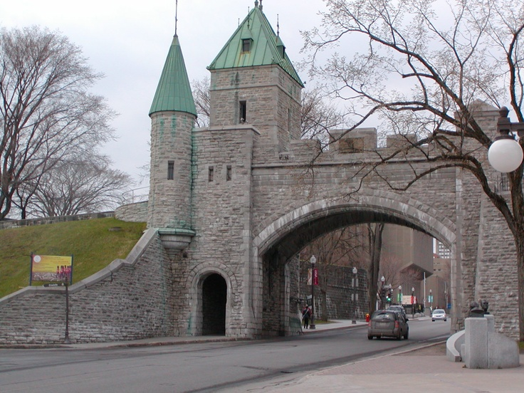 """Entrance to the old part of the city and part of the """"wall"""" around Old Quebec City"""