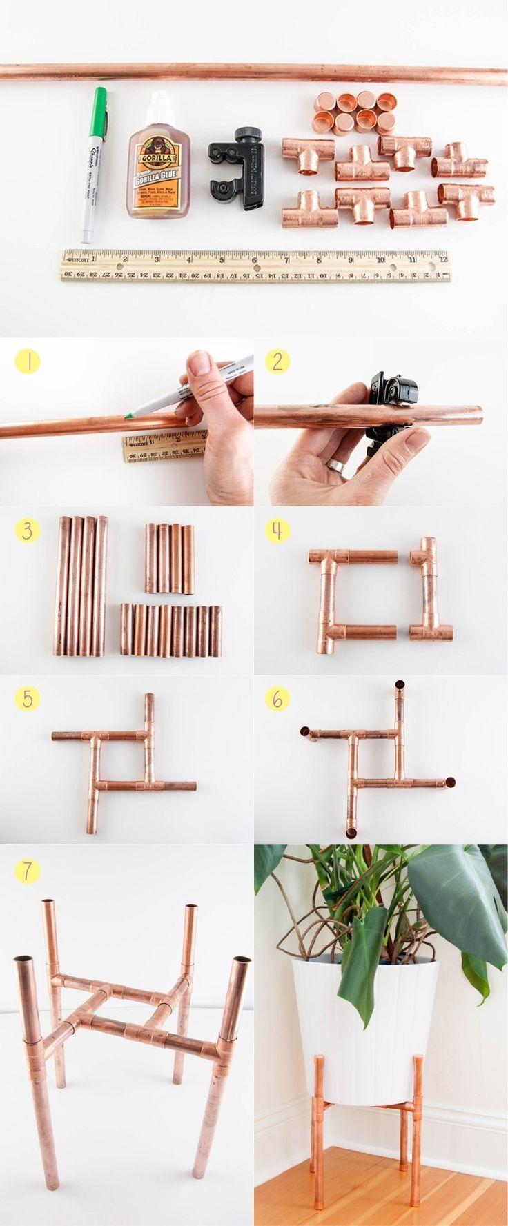 3 DIY usando canos de cobre - Base vaso - Bangalô da Tati