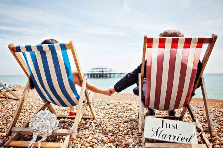 Beach wedding deckchairs! How very British!