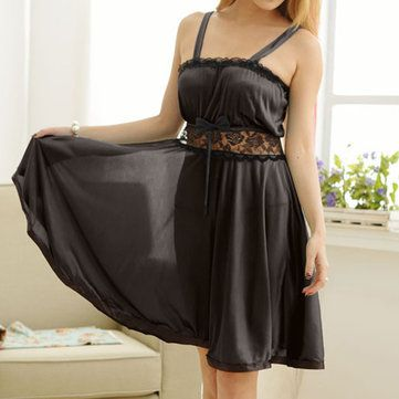 Sexy Lace Spaghetti Strap Lingerie Hollow Out Bowknot Expansion Nightdress at Banggood
