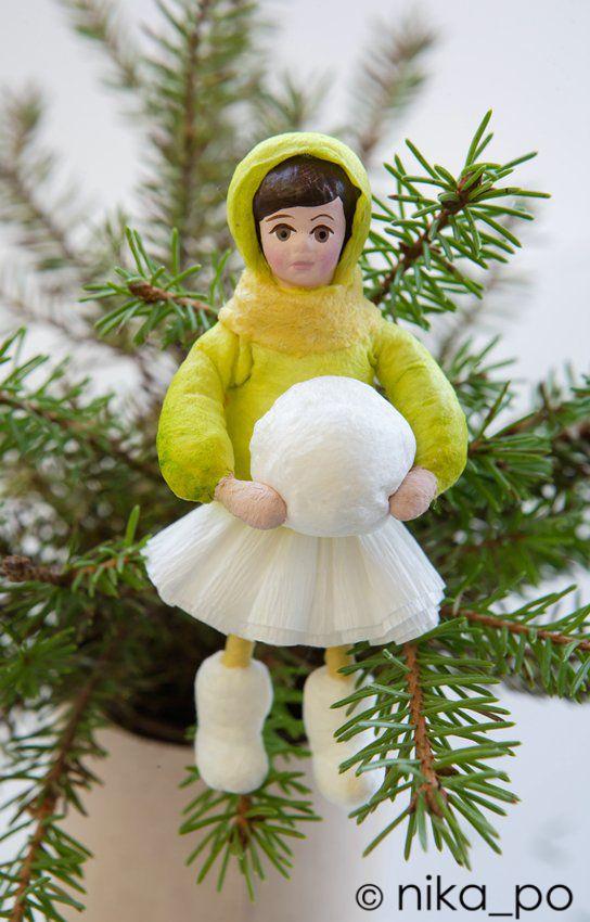 Spun cotton ornament