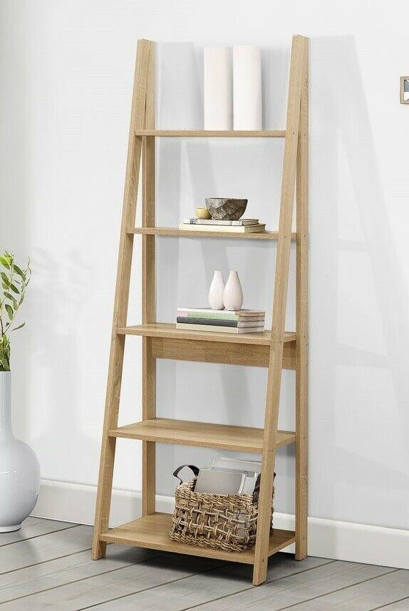 Ladder Bookcase Leaning 5 Tier Display Shelving Unit Shelf Rack