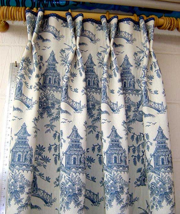 Love the attention to the spacing for the pleats and the spaces - the pagodas line up perfectly! Image detail for -Toile Curtains | Teal Curtain UK