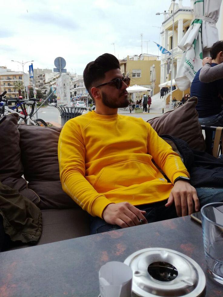 Photoshoot #yellow #hoody #sunglasses #cigarette #model #man #fashion #clothes #photoshooting