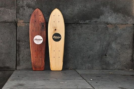 Gorgeous wood longboards, with a classic logo and style.