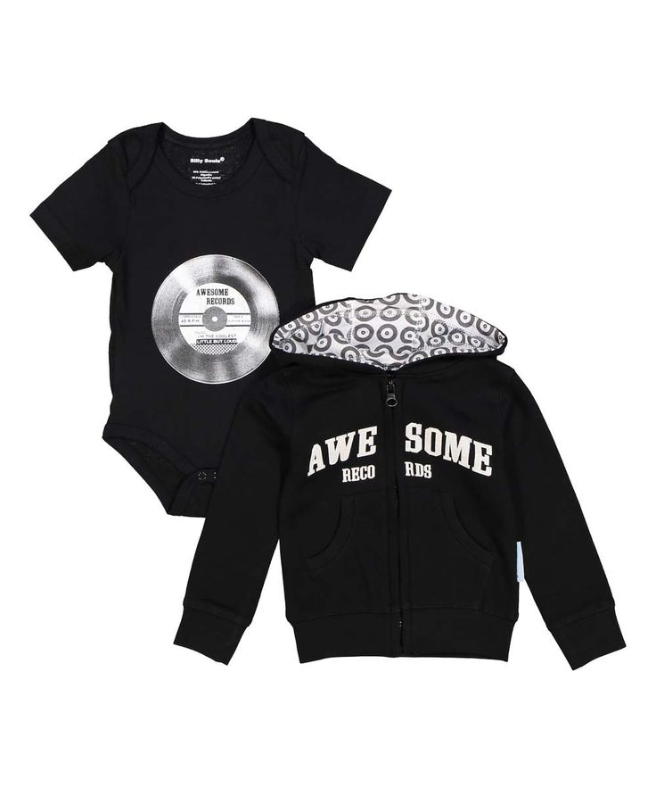 Awesome Records, little but loud, baby boy's sweat shirt and onesie set in black and white - Silly Souls