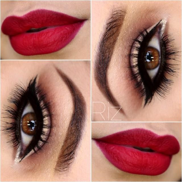 Red lips and gorgeous eye makeup - perfect balance with dark and light so even the look is dramatic it doesn't feel too heavy!