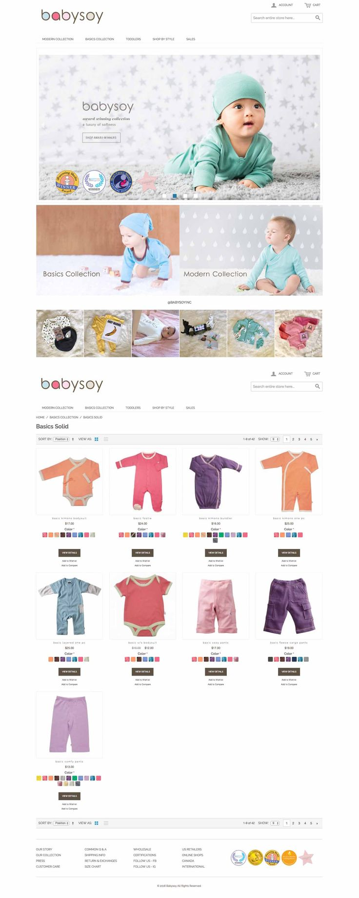 Babysoy is an online retailer of baby clothing,using simple and fresh designs. They create a sustainable and modern baby capsule wardrobe for eco-babies without sacrificing comfort or style. #oodda #babysoy #website #design #babysuit #maintenance #marketing
