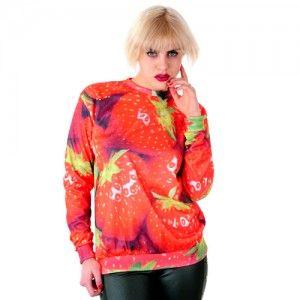 Bluza Oversize Hipster z nadrukiem TRUSKAWKI unisex