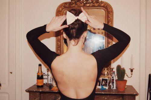 Veuve Clicquot: Beautiful Inspiration, Backless Dresses, Ballerinas Style, Ballet Bows, Hair Bows, Beautiful Blog, Big Bows, Socks Buns, Open Back