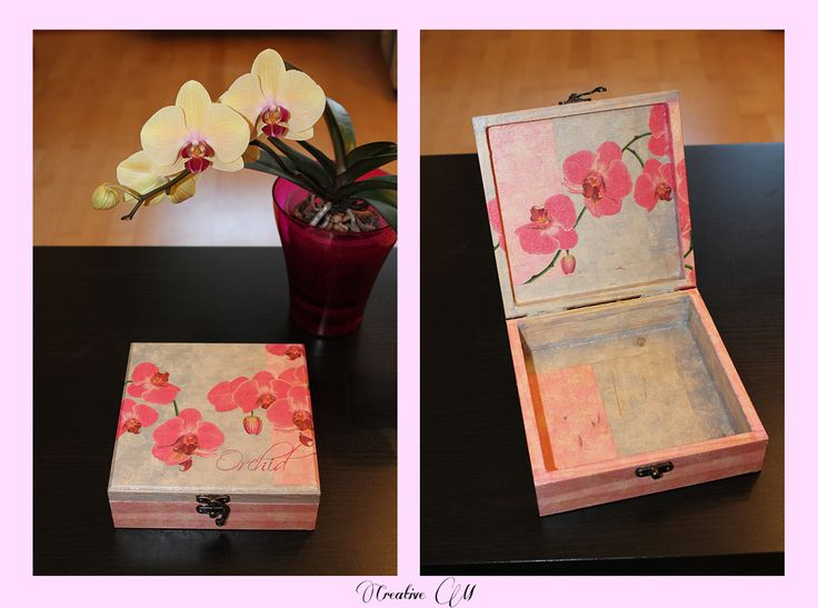 Decoupage, Orchid Jewelry box
