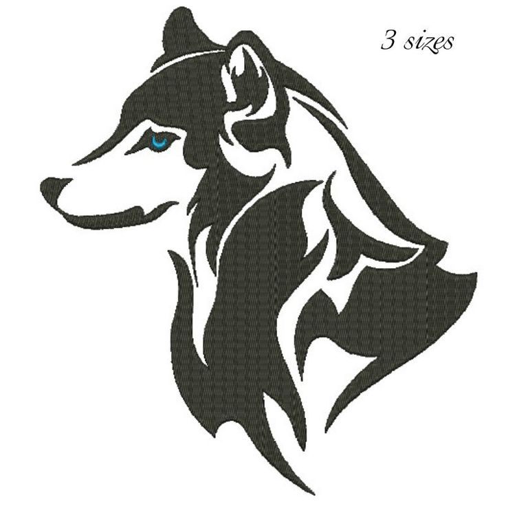 Husky embroidery design  digital download dog pattern by GretaembroideryShop on Etsy