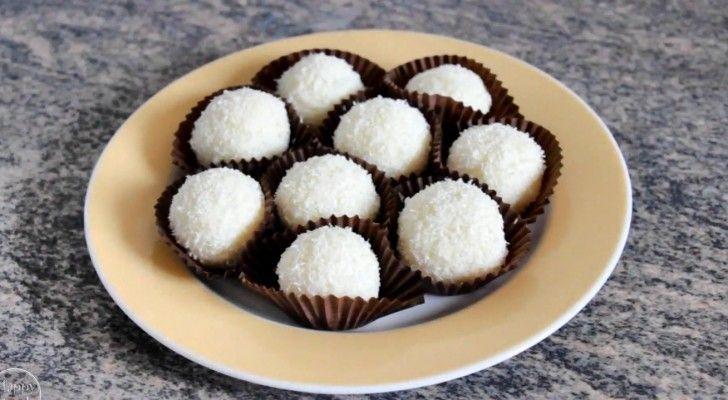 Adoran el praline de coco? Esta receta la prepararan en poquisimos pasos, con simples ingredientes y sobre todo...SIN COCCION! Preparen la harina de coco, avellanas y leche condensada. Crear una pasta…