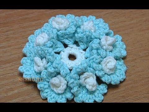 Вязание крючком Цветка Урок 23 Как связать Цветок со спиральками в лепестках