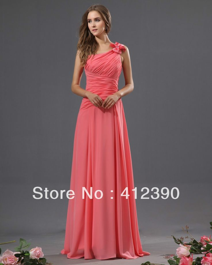 Free shipping new arrival Coral Chiffon Floor length A-Line One shoulder Cheap Bridesmaid Dresses € 47,38